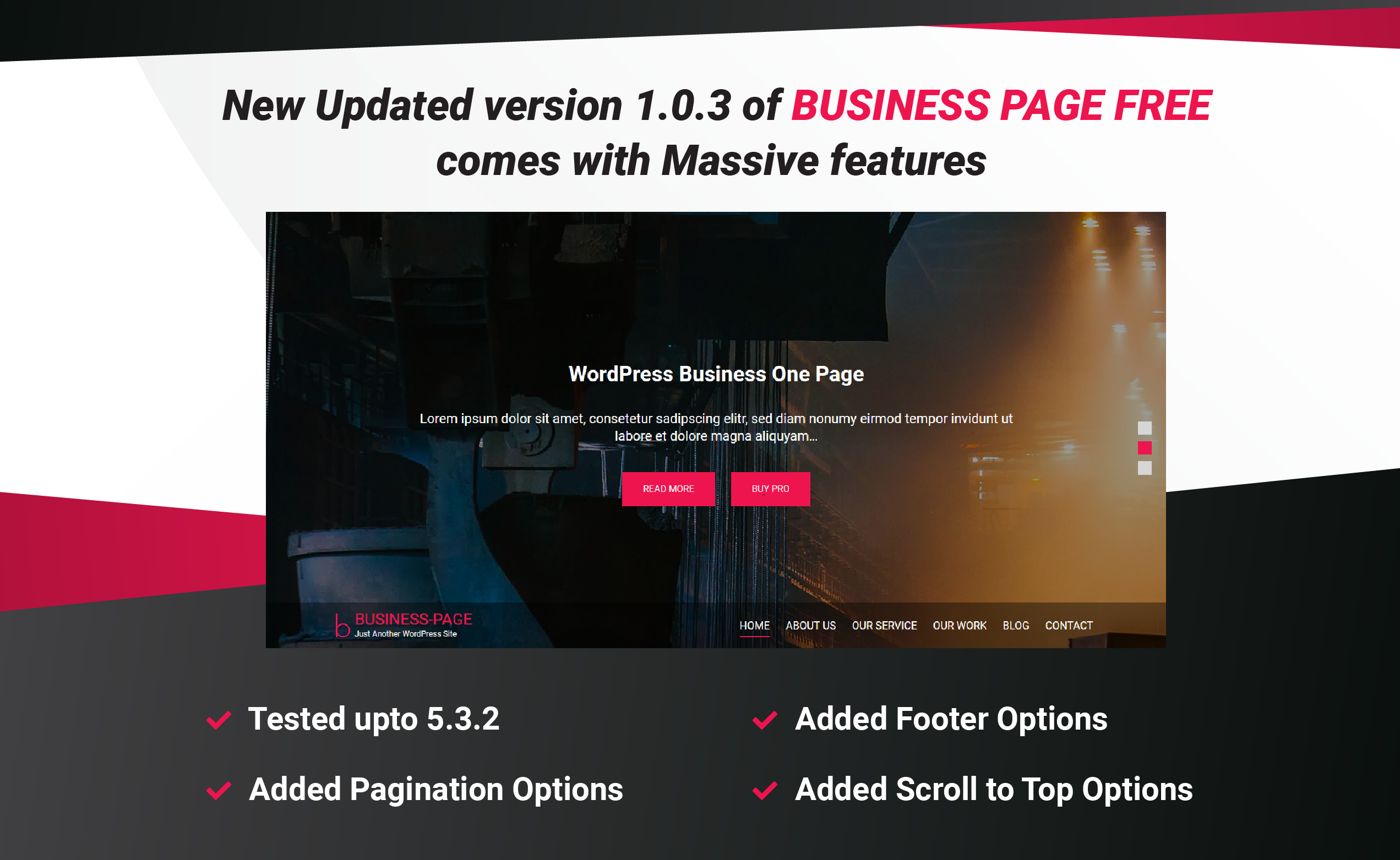 Business Page WP Free Theme 1.0.7 is just release